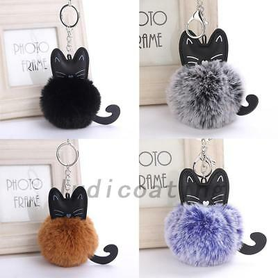 Fashion Fluffy Cat Key Ring Pom Ball Keychain Jewelry Bag Hang Accessories Gift