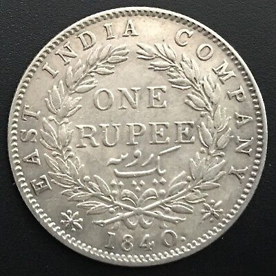 BRITISH EAST INDIA COMPANY 1840 B RUPEE 0.917 SILVER KM# 457.4 Continues legend
