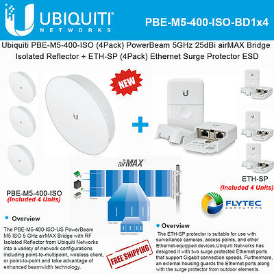 Ubiquiti PBE-M5-400-ISO 4PACK PowerBeam 25dBi 5GHz 25km +ETH-SP x4 Protector ESD
