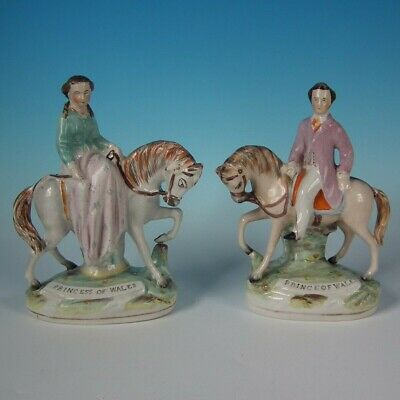 Pair Staffordshire Prince & Princess of Wales Figures