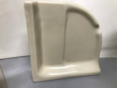 VTG Mid Century Corner Shelf Beige Bathroom Porcelain Ceramic Glossy Soap Dish