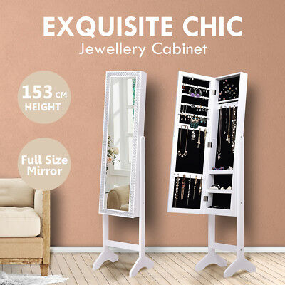 Mirror Jewellery Cabinet Storage Organiser Box Wooden Makeup Stand  White Gift