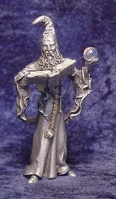 Pewter WIZARD Holding Book and CRYSTAL Ball