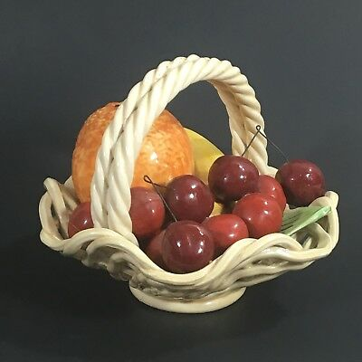 Vintage Italian Ceramic Artificial Fruit Basket Weave Bowl Hand Made Italy 5 x 7