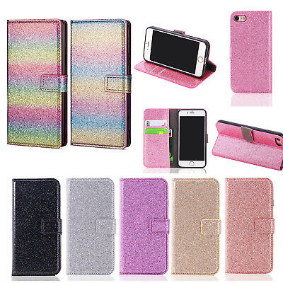 Bling Glitter Leather Flip Magnetic Wallet Card Case For iPhone XS Max 8 7 6 5s
