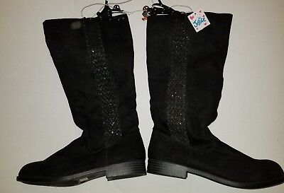 Justice Tall Black Boots Size 7 NWT soft zipper girls