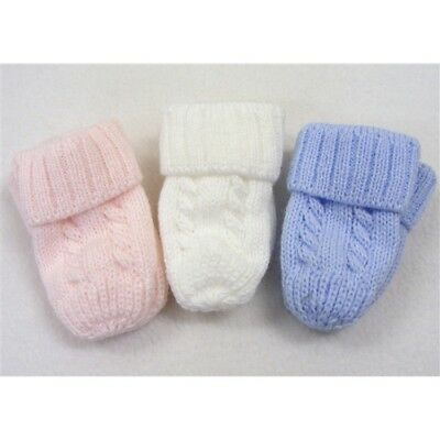 Kinder Baby Boys Girls Traditional Knitted Cable Knit Mittens Blue White Pink