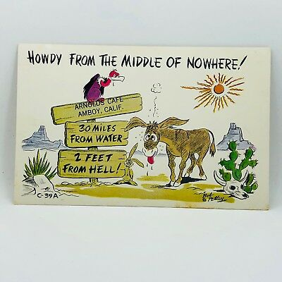 Postcard Vintage Howdy from the Middle of Nowhere! Mule Donkey A-8