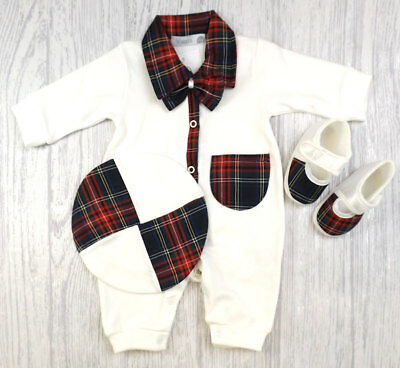Baby Boys Girls Spanish Style Romany Tartan & Cream Romper Beret & Shoes AW18