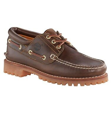 536c8a409a0 Timberland Classic 3 Eye Lug Shoes Leather Hand made Boat Deck Shoe Dark  Brown