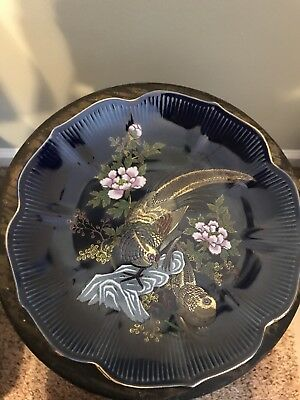 "Cobalt Blue Plate 8"" Heritage Mint Ltd. Made in Japan Gorgeous!!!"