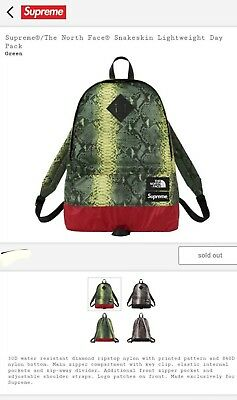 6e2a71c1d SUPREME X THE North Face Snakeskin Lightweight Day Pack Green New ...