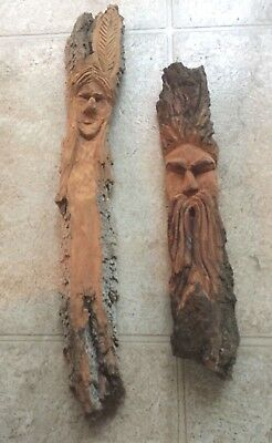 Hand Carved Wood Art - Southwest Inspired - Set Of 2