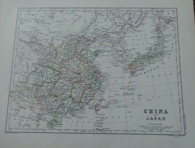 Antique - A K Johnston Map -1882 - China And Japan - Vintage