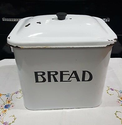 Vintage Rustic White Enamel Large Bread Bin With Lid And Carry Handles