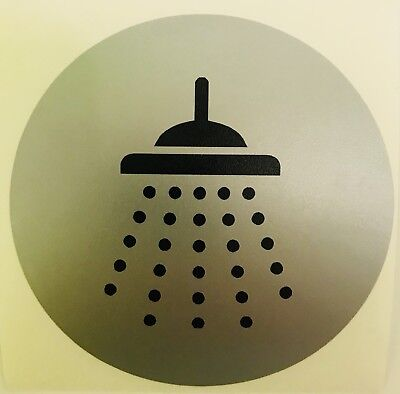 Shower Sign X 2 Black On Silver 5 Year quality Vinyl   With Application  Tape