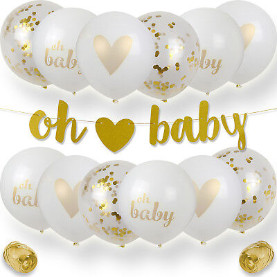 """Baby Shower Decorations, 12 Balloons with Gold Ribbon and """"Oh Baby"""" Banner"""