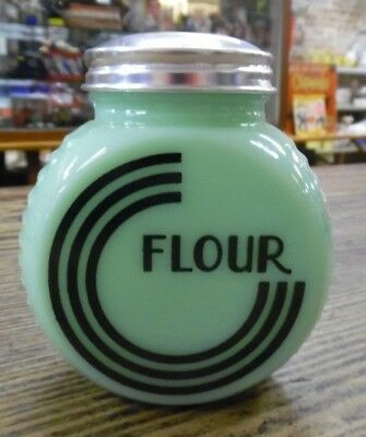 Jadeite Art Deco FLOUR Shaker Green Glass Kitchen New Vintage Look Round Ribbed
