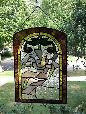 Vintage Stained Glass Window Colored Angel Dove