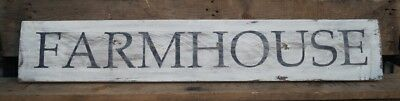 "FARMHOUSE - Large Rustic Wood Sign 42"" long Distressed White Fixer Upper Style"