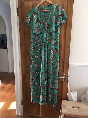 5d107a492104 ZARA Floral Print Wrap Fab Green Crossover Silky Jumpsuit XL Bloggers Fav