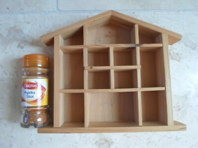 small wooden house shaped nick nack display shelves 12 compartments