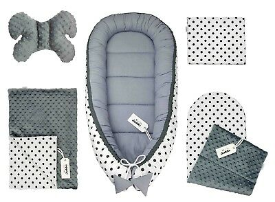 Double-Sided Baby Sleeping Nest - Set of 5 Elements- Dots with Gray Minky