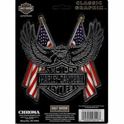 Harley-Davidson Eagle and American Flags Decal Sticker