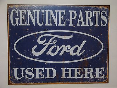 """Vintage Style """"Ford Genuine Parts Used Here""""  Metal Sign Man Cave Garage S68"""