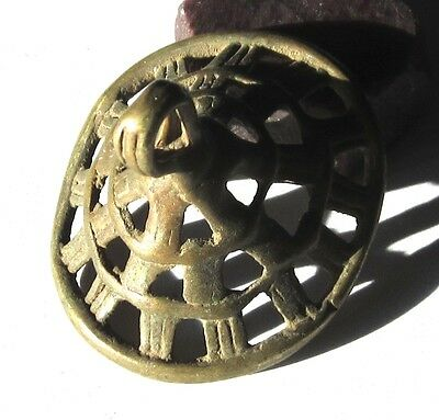 RARE AMAZING OLD LARGE ETHIOPIAN WOVEN BRASS ANTIQUE PENDANT BEAD 32mmx38mmx43mm