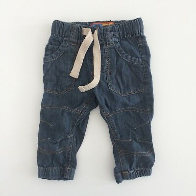 Baby Boys NEXT Navy Blue Casual Corded Waist Jeans Size 6-9 Months