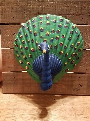 Handcrafted Seashell Peacock On Pallet Board Frame, Hand Painted Signed By Artis