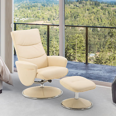 Leisure Recliner Chair Lounge Seat Footrest Stool Living Room Cream
