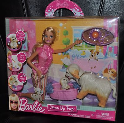 Barbie Doll Clean Up Pup Taffy Dog Puppy Tub Play set Accessory 2009 T7036 NEW