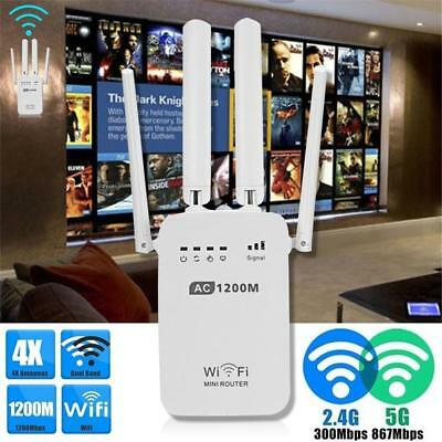 AU 300/1200Mbps Wifi Repeater N 802.11 AP Range Router Wireless Extender Booster