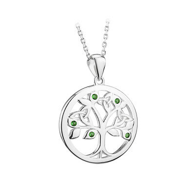Irish Tree of Life Necklace Sterling Silver Green Crystals Made in Ireland