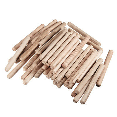 10x100mm Wooden Dowel Wood Kiln Dried Fluted Beveled Hardwood 50pcs