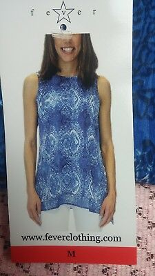FEVER Womens Blouse MEDIUM Ladies' Lightweight Double Layer Woven Blue NWT #D77