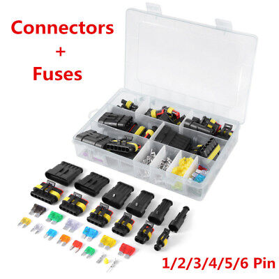 Car Waterproof Electrical Connector Terminal 1/2/3/4/5/6 Pin Way+Fuses W/Box Lot