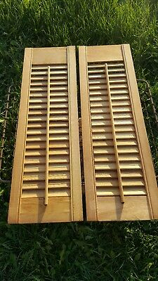 Pair of Vintage Wood Shutters Victorian Window Louver Plantation Doors 8x26