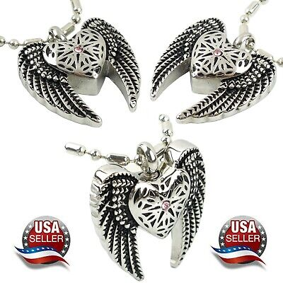 NEW! Angel Heart & Wings Cremation Jewelry Ashes Keepsake Memorial Urn Necklace