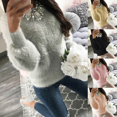 Women Warm Loose Long Sleeve Knitted Sweater Tops Pullover Winter Jumper Blouse