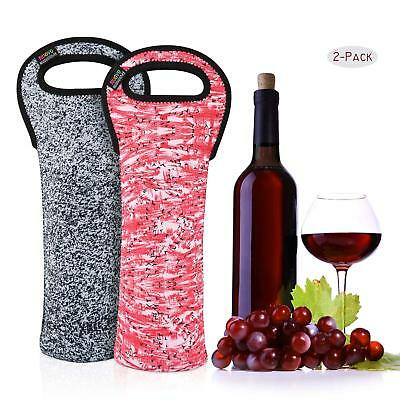 2 Pack Portable Wine Tote Holders Insulated Bag Wine / Water Bottles Protector