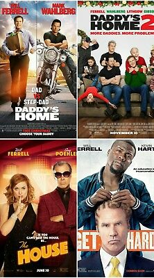 Will Ferrell LOT 4 Original 27X40 DS Movie Posters DADDY HOME GET HARD HOUSE