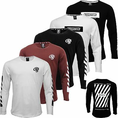 Mens Crosshatch Long Sleeve Top Printed Embroidery Crew Neck Fashion Top Tee