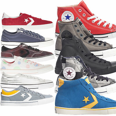 Converse Trainers Unisex Mens Womens Adults Hi Lo Top Canvas Leather Lace Up
