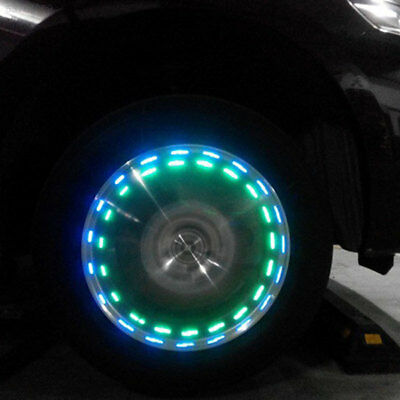 AB7B Solar Car Motorcycle LED Flash Wheel Tire Valve Caps Neon Light Lamp Decora