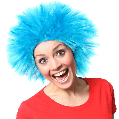 Blue Spike Wig Fancy Dress Costume Accessory Unisex World Book Day Thing Outfit