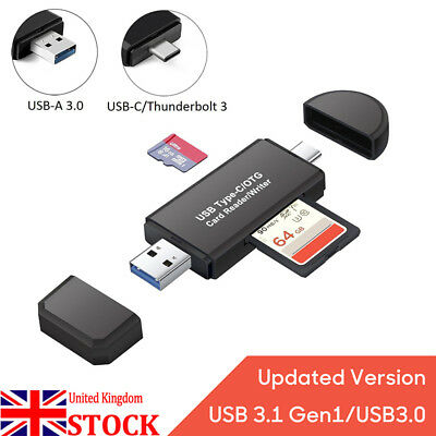 3 in 1 USB 3.0 Type C USB C TF SD Card Reader Adapter OTG Adapter For Macbook UK