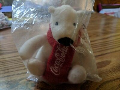"Coca Cola Plush Polar Bear With Red Scarf 4"" Coke Promotional Toy"